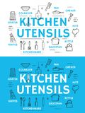 Kitchen utensil and cooking accessories. Kitchen utensil with cooking accessories, equipment and kitchenware thin line icon. Spoon, knife and fork, cup, pot and royalty free illustration