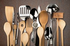 Kitchen Utensil. Cooking Utensil Wooden Spoon Kitchen Knife Spatula Equipment Frame Stock Photography