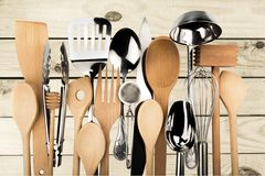 Kitchen Utensil. Cooking Utensil Wooden Spoon Kitchen Knife Spatula Equipment Wood Stock Photography