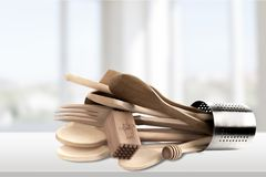 Kitchen Utensil. Cooking Utensil Wooden Spoon Work Tool Equipment Wood Cooking Tools Stock Photography