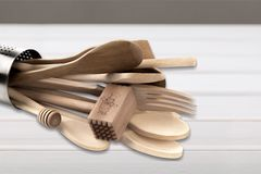 Kitchen Utensil. Cooking Utensil Wooden Spoon Work Tool Equipment Wood Cooking Tools Royalty Free Stock Images