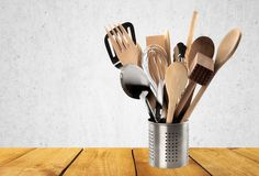 Kitchen Utensil. Cooking Utensil Wooden Spoon Work Tool Spatula Ladle Equipment Stock Photography