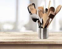 Kitchen Utensil. Cooking Utensil Wooden Spoon Work Tool Spatula Ladle Equipment Stock Photos