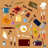 Kitchen utensil and cookware flat icons. Kitchenware and utensil flat icons with pots, ladles and knives, forks, cup and tea set, tray and graters, cutting royalty free illustration