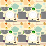 Kitchen utensil and food seamless pattern background illustration Stock Images