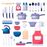 Kitchen utensil icons and design elements set. Cooking and kitchenware modern tools. Vector colorful flat illustration stock illustration