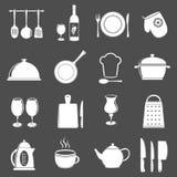 Kitchen utensil icons. Kitchen utensil icons set isolated on gray background stock illustration
