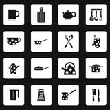 Kitchen utensil icons set, simple style Stock Photos