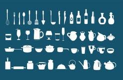 Kitchen utensil icons vector set Stock Photos