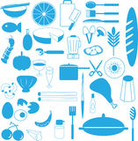 Kitchen utensil ingredient icons. Icon and elements in kitchen Stock Photos