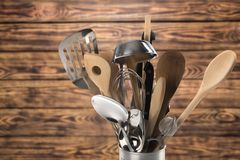 Kitchen utensil. Cooking utensil wooden spoon work tool spatula ladle equipment Stock Images