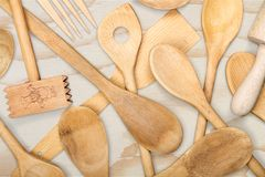 Kitchen utensil. Kitchenware department wood fork silverware spoon old Royalty Free Stock Image