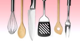 Kitchen utensil. Wire whisk spatula rolling pin spoon kitchen knife Stock Photos
