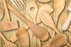 Kitchen Utensil. Kitchenware Department Wood Fork Silverware Spoon Old Stock Image