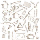 Kitchen utensil and kitchenware icons. Kitchenware and utensil icons with pots, ladles and knives, forks, cup and tea set, tray and graters, cutting boards stock illustration