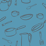 Kitchen Utensil Pattern. A seamless pattern of various objects found in the kitchen drawn in brown on a blue background Vector Illustration