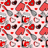 Kitchen utensil pattern. Vector image. Heart shaped kitchen utensil seamless pattern Royalty Free Stock Photo