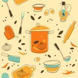Kitchen Utensil. Seamless Pattern of Kitchen utensil in Retro-Styled Stock Photo