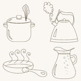 Kitchen utensil set collection. Kitchen utensil set. Collection of kitchenware for cooking. Saucepan, frying pan, kettle and glass jug. Vector illustration Royalty Free Stock Photos