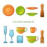 Kitchen utensil set. A set kitchenware. Kitchen utensils in hand drawn cartoon style. Kitchen dishes set. Kitchen Royalty Free Stock Photography