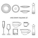 Kitchen utensil set. A set kitchenware. Kitchen utensils in hand drawn style. Kitchen dishes. Kitchen utensils for Stock Photos