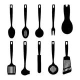 Kitchen utensil silhouettes collection Stock Photo