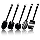 Kitchen utensil silhouettes Royalty Free Stock Photography