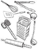 Kitchen utensil sketches Royalty Free Stock Photography