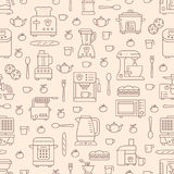 Kitchen utensil, small appliances beige seamless pattern with flat line icons. Background with household cooking tools Royalty Free Stock Photos