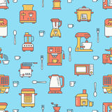 Kitchen utensil, small appliances colored seamless pattern flat line icons. Background with household cooking tools - Royalty Free Stock Photo