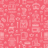 Kitchen utensil, small appliances red seamless pattern with flat line icons. Background with household cooking tools - Royalty Free Stock Photo