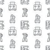 Kitchen utensil, small appliances seamless pattern flat line icons black white. Background household cooking tools - Stock Photo