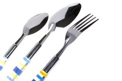 Kitchen utensil spoon with fork close up Royalty Free Stock Photo