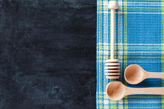 Kitchen utensil and tablecloth Stock Photo