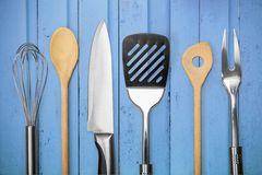 Kitchen Utensil. Wire Whisk Spatula Rolling Pin Spoon Kitchen Knife Stock Photo