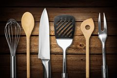 Kitchen Utensil. Wire Whisk Spatula Rolling Pin Spoon Kitchen Knife Isolated Royalty Free Stock Photos