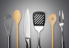 Kitchen Utensil. Wire Whisk Spatula Rolling Pin Spoon Kitchen Knife Isolated Stock Image
