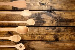 Kitchen Utensil. Wooden Spoon Spoon Spatula Wood Plastic Stirring Royalty Free Stock Photos