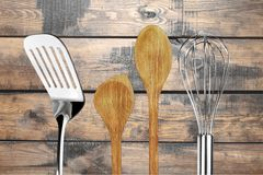 Kitchen Utensil. Wooden Spoon Wire Whisk Spoon Spatula Wood Preparing Food Royalty Free Stock Photo