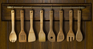 Kitchen utensil: wooden spoon, wooden fork wooden spatula Royalty Free Stock Images