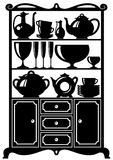 Kitchen utensils. Silhouette of a cabinet with kitchen utensils Royalty Free Stock Images