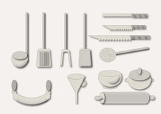 Kitchen utensils. Draw  illustration Stock Image