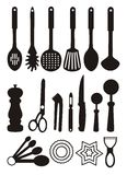 Kitchen utensils. Illustration of utensils used in kitchen for cooking and preparing food Stock Photo