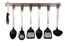 Kitchen utensils. Steel and plastic kitchen utensils isolated on white background Royalty Free Stock Photo