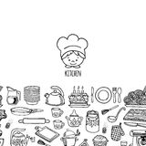 Kitchen utensils and appliance horizontal banner Stock Images
