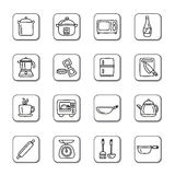 Kitchen Utensils and Appliances Doodle Icons Stock Photo