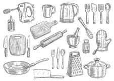 Kitchen utensils and appliances isolated sketches Royalty Free Stock Photos