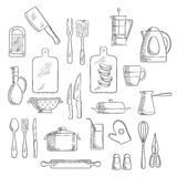 Kitchen utensils and appliances sketches. Kitchen utensils and appliances sketch icons of tea and coffee pots, knives, forks and spoon, cup, glass and jug Stock Photos