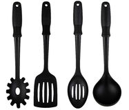 Kitchen Utensils with Black Nylon Soft Handles Royalty Free Stock Photo