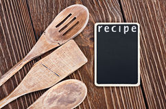 Kitchen utensils and a blackboard to write a recipe Royalty Free Stock Image